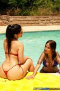 Regan Reese and Luscious Lopez with pool dude