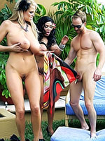 Sienna West in hot threesome in garden