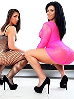 Bella Reese and Mischa Brooks in bodystockings